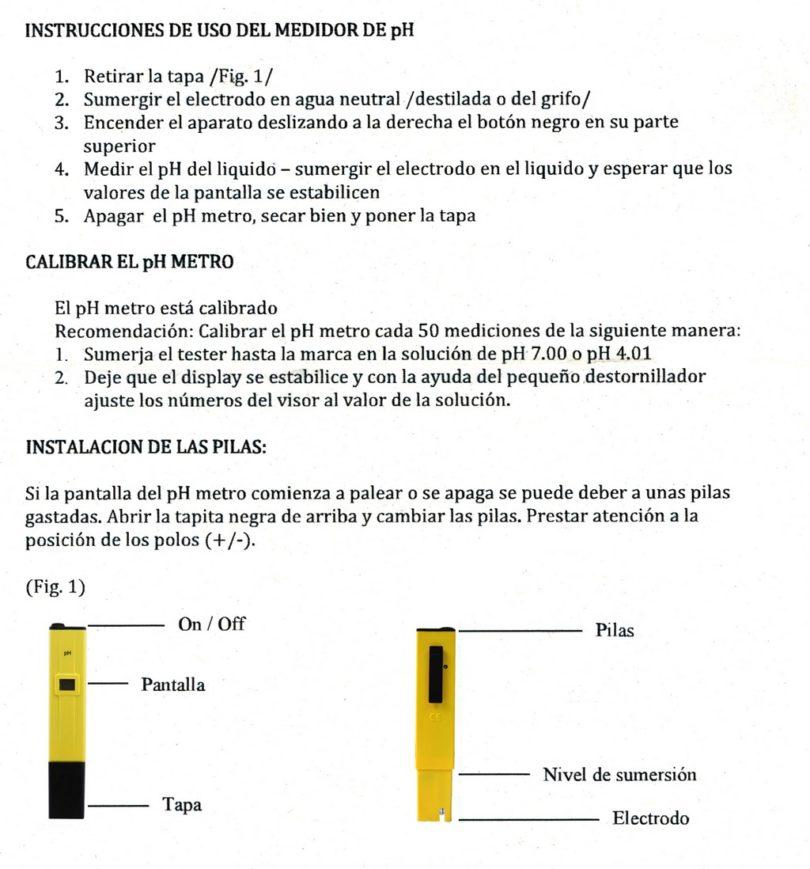 Medidor pH metro digital - Instrucciones en castellano