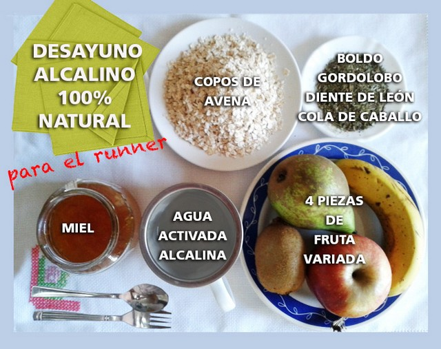 Desayuno alcalino y natural para correr