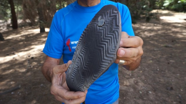 Suela de las Pies Sucios Nunche 3 con 2.500 km y cordón de piel